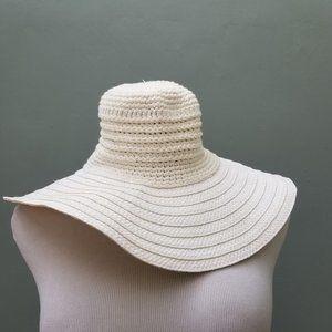 Saks Fifth Avenue Threads Crochet Straw White Hat